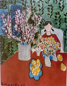 Plum Blossoms, Green Background, by Henri Matisse, French Artist, 1966 Vintage…