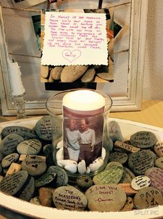 Memory stones. Guest book stones. Funeral.  Evalyn wrote a note to inform family & guests to write their memories of her Papa.