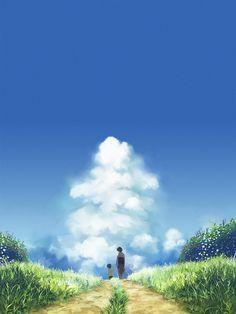 ✮ ANIME ART ✮ anime scenery. . .nature. . .dirt path. . .grassy field. . .flowers. . .sky. . .clouds. . .peaceful. . .kawaii