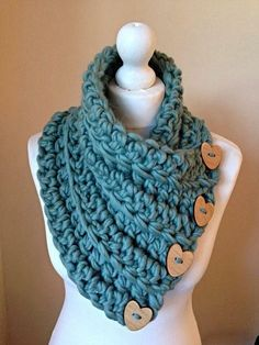 Teal Green Chunky crochet button scarf cowl by WoolCoutureCompany Crochet Scarves, Crochet Shawl, Crochet Clothes, Crochet Lace, Crochet Stitches, Knitting Scarves, Chunky Crochet Scarf, Loom Knitting, Knitting Patterns