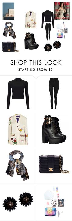 """""""Doggo"""" by nadaanja ❤ liked on Polyvore featuring Miss Selfridge, Topshop, Etro, Klements, Chanel, NPW, Versace and Anthropologie"""