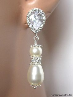 Annabelle Earrings  Swarovski Crystal Cream by AuroraJewelryBox, $22.00