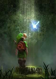 Fanart link nintendo forest legend of zelda navi loz hyrule ocarina of time OOT 64 The Legend Of Zelda, Legend Of Zelda Breath, Legend Of Zelda Poster, Twilight Princess, Princess Peach, Malon Zelda, Video Game Art, Video Games, Link Zelda