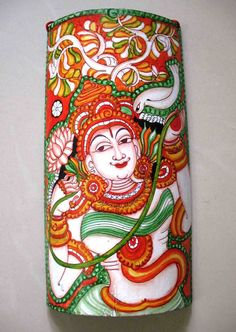 Mural painting on Bamboo: Hand painted in traditional Kerala temple painting style on bamboo by the artisans in Wayanad in #Kerala. Its truly a unique wall hanging #souvenir (Image courtesy: Masmara)
