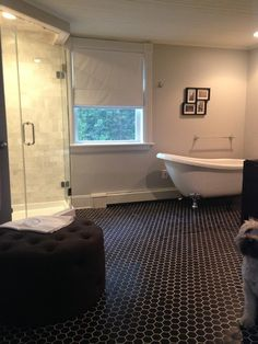 DIY bathroom project with this bold and beauty floor tile for a classic and durable design - Hex Matte Black Porcelain Mosaic Tile - 2 x 2 in.