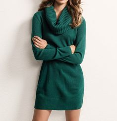 forest green cowl neck sweater dress icystyle.com