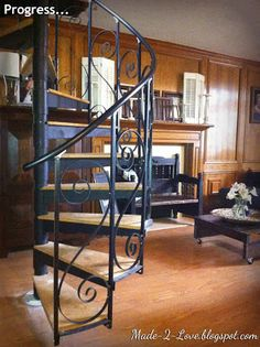 diy Spiral Staircase - Part 2... this one has potential... I hate the swirly things in the railing... so that would be left out.