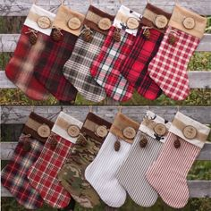 Set of 7 Family Christmas Stockings Personalized Wood Slice Name Tag Redwood Cone Rustic Woodland Christmas Plaid Flannel Christmas Stocking