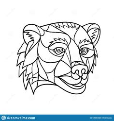 Illustration about Low polygon mosaic style illustration of a grizzly bear or brown bear head on isolated background in black and white. Illustration of growling, polygonal, mosaic - 128554424 Art Prints, Bear Illustration, Bear Head, Illustration, Wildlife Art, Mosaic, Society6 Art, Black And White, White Art