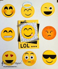 jpp - Emoji Punch Art / Smiley / Stampin' Up! Berlin www. Paper Punch Art, Punch Art Cards, Boy Cards, Kids Cards, Emoji Craft, Karten Diy, Candy Cards, Paper Piecing, Scrapbook Cards