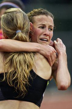 Amy Hastings reacts after winning the women's 10000m run during the 2012 US Olympic Trials for Track & Field at Hayward Field in Eugene, Oregon.