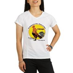 Chicago Rising Cock PARODY Women's  Performance Dry T-Shirt. To see all WOMEN'S items with this design, follow this link;   http://www.cafepress.com/cheylines/9455143