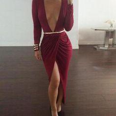 Sexy V-neck long-sleeved ir..