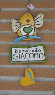 ceramica come mestiere: Un tenero benvenuto per il piccolo Giacomo.