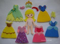 Princess felt clothes dress up dolls quiet toy paper dolls