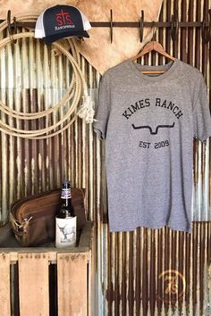 "- ""Kimes Ranch Est graphic t-shirt - Rustic black graphics on heather grey - Vintage crew neck t-shirt - Men's sizes, loose fitting - Fits true to men's sizing, so runs a size to size and half l Country Girls Outfits, Western Outfits, Western Wear, Kimes Ranch, The Ranch, Ranch Life, Cowgirl Style, Cowgirl Fashion, Texas Fashion"
