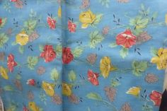 Vintage 1930s Cotton Floal Fabric Blue with Red and Yellow Roses and Morning Glories Almost 5 Yards by VintagePatternDrawer on Etsy