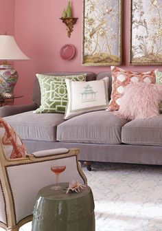Frontgate loves blushing… (a term we use to refer to our love of incorporating pink accents into a room: pink walls, pink pillows, and on and on...)