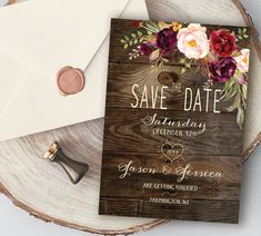 Burgundy Save the Date on rustic wood, Country save the date with Barnwood, Available as a Printable Digital File Wedding Matches, Wedding Pins, Wedding Cards, Our Wedding, Wedding Ideas, Rustic Save The Dates, Wedding Save The Dates, Save The Date Cards, Jewel Tone Wedding