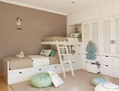 bunk bed wall stickers kids room wall colors neutral palette beige mint