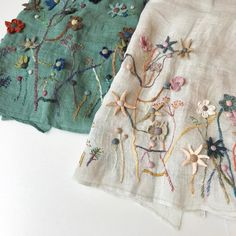 Sophie Digard ~ Embroidered Linen Scarves ~ Shade