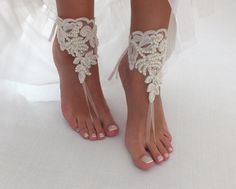 Barefoot sandals for beach wedding. Bridal accessory, Beach wedding photo shoots, Custom photo shoots, Gift for Bridesmaids, Anniversary, Birthday gift. Designed with high quality French lace. It is completely handmade. • Handmade • First quality French lace • Elastic Band • Product is for 1