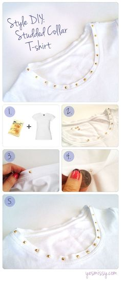 26 DIY Summer Inspiration Ideas, Style DIY: Studded Collar T-shirt