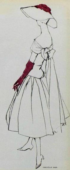 Women's Vintage Clothing & Accessories - 1955 Christian Dior www.vintageclothi… More - Vintage Fashion Sketches, Fashion Illustration Vintage, Fashion Vintage, Fashion Drawings, 1950s Fashion, Fashion Illustrations, Vintage Dior, Mode Vintage, Vintage Ladies