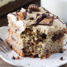 This chocolate chip banana cake with peanut butter frosting starts with a super moist banana cake.