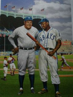 Josh Gibson and The Babe Ruth Baseball Painting, Baseball Art, Baseball Photos, Baseball Players, Negro League Baseball, Sports Merchandise, America's Pastime, Babe Ruth, Sports Figures