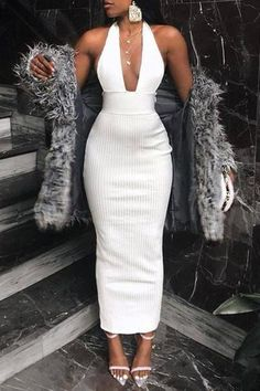 Elegant bodycon dress - Sexy Pure Color Halter Bare Back Knitted Dresses – Elegant bodycon dress Elegant Dresses, Pretty Dresses, Sexy Dresses, Dress Outfits, Fashion Dresses, Prom Dresses, Amazing Dresses, Mini Dresses, White Outfits