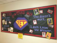 """Growth mindset bulletin board, featuring biographies from the library about famous people who persevered. The power of """"us"""". Counseling Bulletin Boards, Classroom Bulletin Boards, Bulletin Board Display, Display Boards, Superhero Bulletin Boards, Display Ideas, Classroom Walls, Mindful Classroom, Elementary Bulletin Boards"""