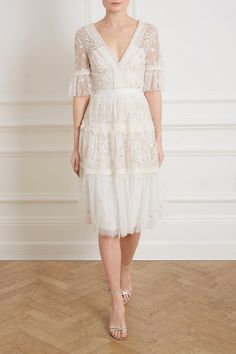 Midsummer Lace Dress in Ivory from Needle & Thread's New Season Collection. Lace Midi Dress, Tulle Dress, Dress Up, White Lace Dresses, White Dress With Sleeves, Lace Gowns, Swag Dress, Pretty Outfits, Pretty Dresses