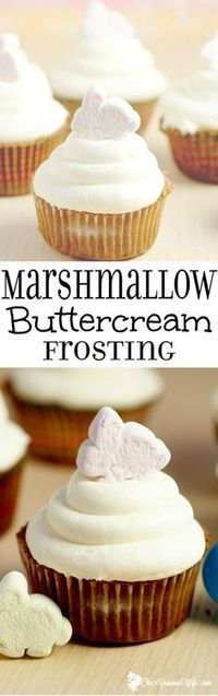 Marshmallow Frosting Recipe- a fun spin on buttercream with marshmallow creme. Perfect for your favorite best homemade cupcakes recipes. This would be amazing for S'mores cupcakes!