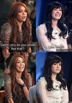 Miley why did you cut all your hair off and look like a British man now? And Demi, wtf did you do to your eye brows?!