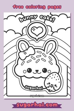 Super cute free bunny cupcake coloring pages.