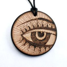 Third Eye Necklace, wooden necklace, wood, pendant, round, wood jewelry, natural, pyrography art, designer handmade artist. $15.95, via Etsy.