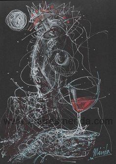 HOY NO ESTOY MUY CATOLICA. Mixta/Cartulina PVC. 30x21. MLG 2018 #reinadelvino #vino #dibujo