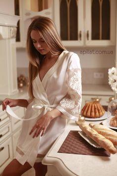 Short Silk Bridal Robe with lace handmade decoration D7(Lingerie), Bridal Lingerie, Wedding Lingerie, Honeymoon, For Her