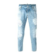 DSQUARED2 'Tidy Biker' Jeans ($303) ❤ liked on Polyvore featuring men's fashion, men's clothing, men's jeans, men, jeans, pants, blue, mens biker jeans, mens ripped jeans and mens destroyed jeans