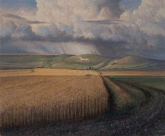 """""""The Alton Barnes White Horse"""" by James Lynch (Egg Tempera on Gesso Coated Wood panel) Landscape Art, Landscape Paintings, Landscapes, James Lynch, Artist Monet, Chalk Hill, Gustave Courbet, Mediums Of Art, Magic Realism"""