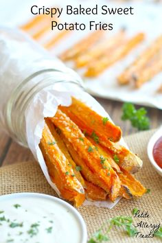 Crispy baked sweet potato fries. Minimal oil is used and keeps these fries crispy. A great gluten free vegan allergy friendly appetizer or side.