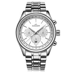 74.40$  Watch here - http://aliy4o.worldwells.pw/go.php?t=32728287869 - SOLLEN Design Military Watches Men Luxury Brand Full Stainless Steel Big Dial Sport Watches Relogio Masculino Clock Men