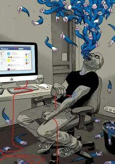 Ilustração de Asaf Hanuka e Tomer Hanuka. Tomer Hanuka, Satire, Technology Addiction, Satirical Illustrations, Satirical Cartoons, Will Turner, Psychedelic Art, Oeuvre D'art, Pop Art