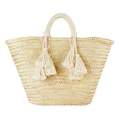 Giselle Women's Ilaria Fringe Tassel Tote Bag (€105) ❤ liked on Polyvore featuring bags, handbags, tote bags, beach bag, beige leather tote, leather handbags, woven beach tote and woven leather tote bag
