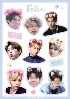 Pop Stickers, Tumblr Stickers, Kids Stickers, Printable Stickers, Kpop Diy, Kids Fans, Felix Stray Kids, Fanart, Kid Memes