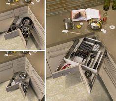 82 Gratuitous Photos Of Drawer Porn (Corner kitchen drawers! Corner Drawers, Kitchen Drawers, Kitchen Cabinets, Corner Cabinets, Corner Cupboard, Corner Storage, Small Kitchen Organization, Kitchen Hacks, Kitchen Storage