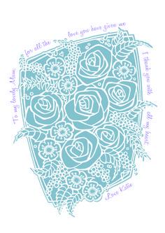 'say it with flowers' - Katie Bergin Design Personalised Mothers Day print www.facebook/katiebergindesign