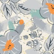 Abstract scribbles with gray flower and berries by zebra_finch