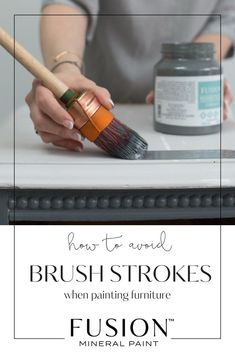 A common problem when furniture painting is brush strokes! This post will share how to not get brush strokes when painting furniture or cabinets with Fusion Mineral Paint. Furniture Painting Techniques, Chalk Paint Furniture, Furniture Projects, Furniture Making, Furniture Makeover, Cool Furniture, Furniture Plans, Glazing Furniture, Stain Techniques